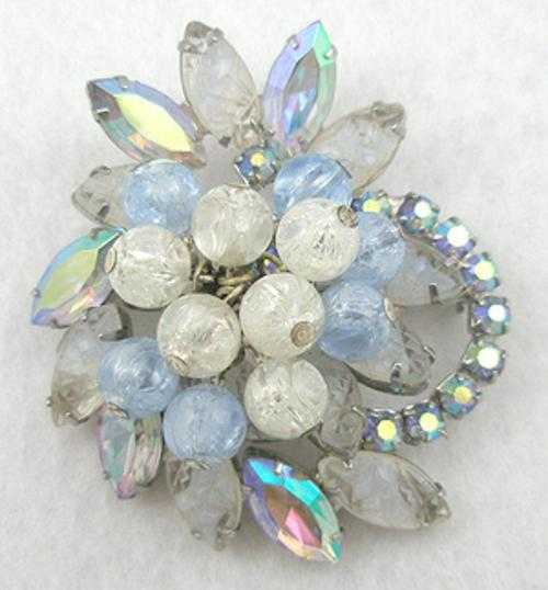 Brooches - DeLizza and Elster Blue and White Rhinestone Beaded Brooch