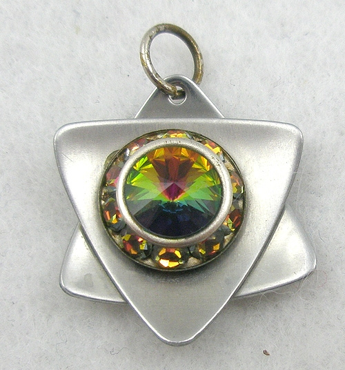 Jewish Jewelry - Silver Rainbow Rivoli Star of David Pendant