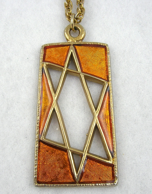 Jewish Jewelry - Signed Orange Enameled Star of David Pendant