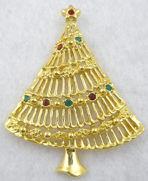 $25 or Less - Gold Tone Christmas Tree Brooch