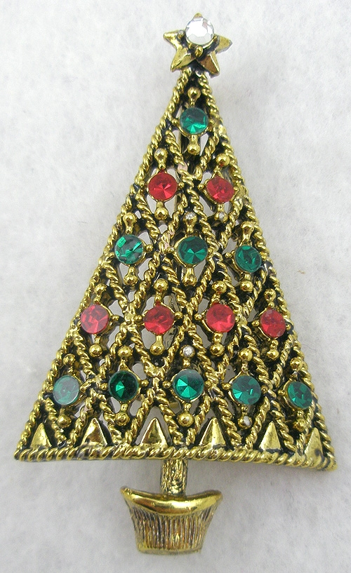 Misc. Signed M-R - Pakula Christmas Tree Brooch
