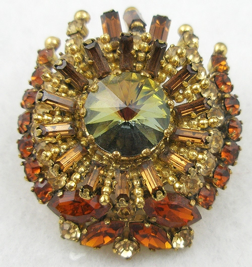 Autumn Fall Colors Jewelry - Austria Topaz Rhinestone Brooch