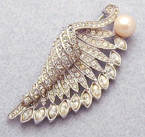End of Year Sale! 30-50% OFF - Art Deco Rhinestone Feather Brooch