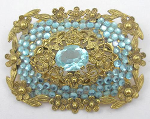 Newly Added Czech Aqua Rhinestone Floral Filigree Brooch