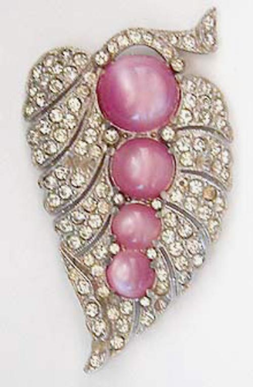 Leaves & Plants - Pink Moonglow and Rhinestone Fur Clip