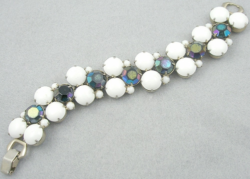 Newly Added Hobe' White Cabochon Jet Aurora Bracelet
