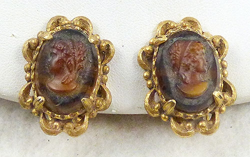 Florenza - Florenza Glass Cameo Earrings