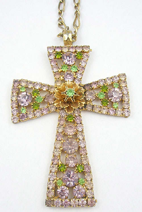 Newly Added Lavender Rhinestone Cross Pendant
