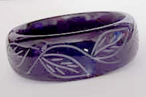Newly Added Purple Carved Lucite Bangle