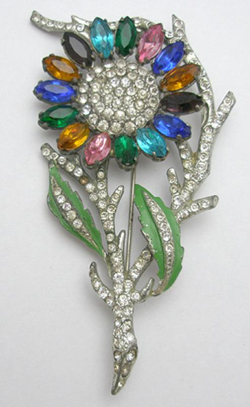 Newly Added Colorful Rhinestone Pot Metal Flower Brooch