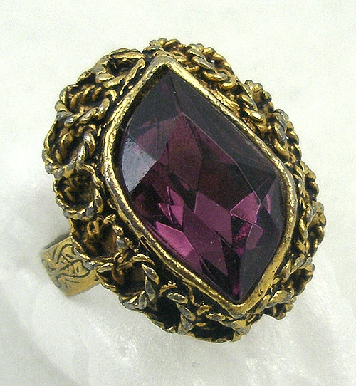 Rings - Vintage Amethyst Glass Flame Ring