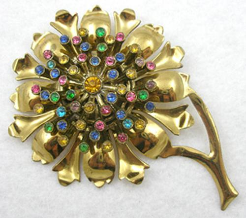 Brooches - Gold Plated Rhinestone Sunflower Brooch