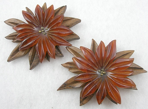 Wooden Jewelry - Amber Bakelite and Wood Dress Clips Pair