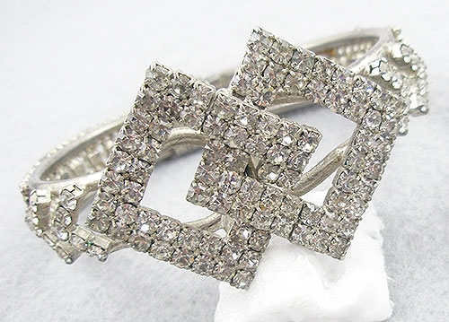 Bridal, Wedding, Special Occasion - Rhinestone Diamond Shapes Clamper Bracelet