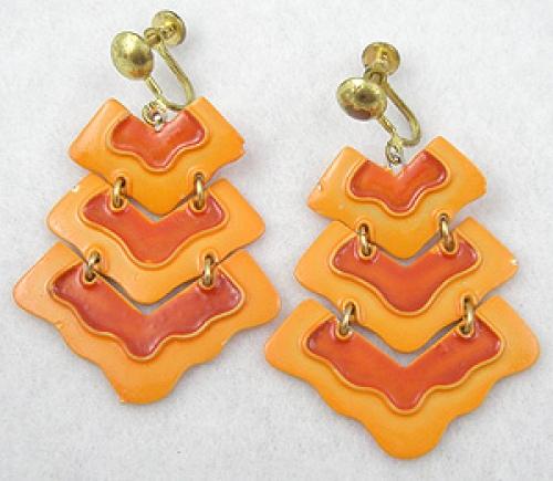 Summer Hot Colors Jewelry - Orange Enamel Earrings