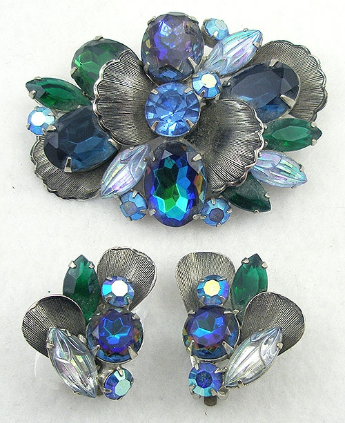 Sets & Parures - Blue Watermelon Rhinestone Brooch Set