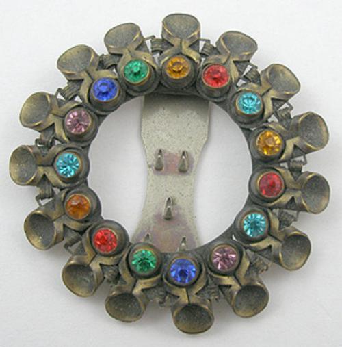 Dress & Fur Clips - Brass Wreath Rhinestone  Jewels Dress Clip