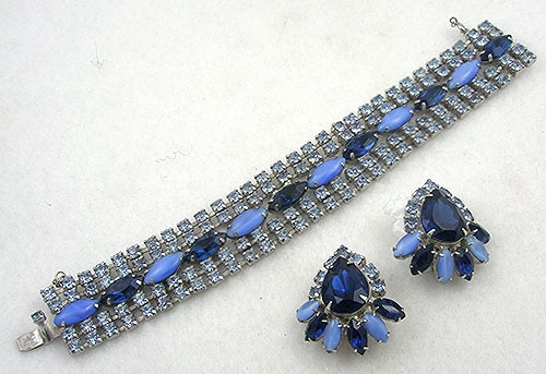 Sets & Parures - Blue Rhinestone Bracelet Set