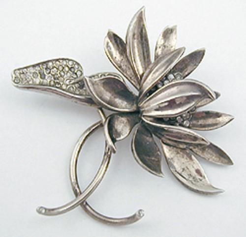 Newly Added Sterling Rhinestone Water Lily Brooch