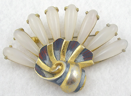 Figural Jewelry - Objects & Things - Lucite and Enamel Fan Brooch