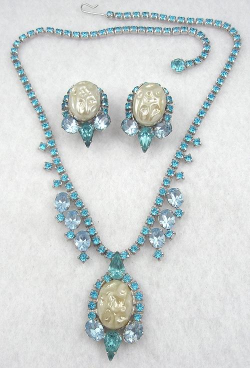 Sets & Parures - Aqua Rhinestone Faux Pearl NecklaceSet