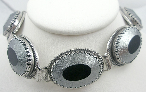 Newly Added Whiting & Davis Black Glass Bracelet