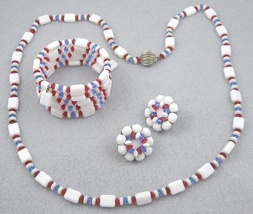 Sets & Parures - Hobe' Patriotic Bead Parure