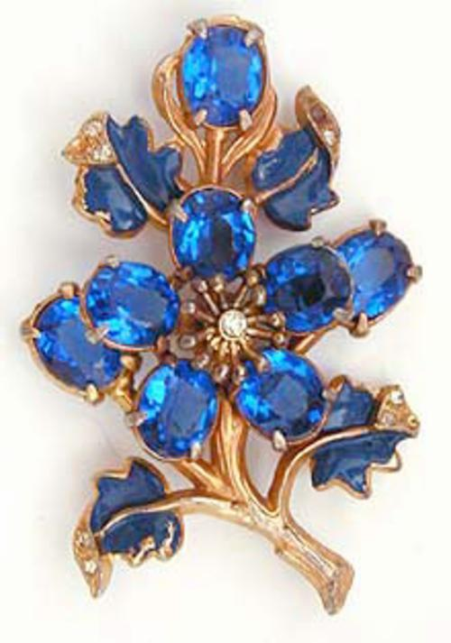 Newly Added Blue Rhinestone Floral Brooch
