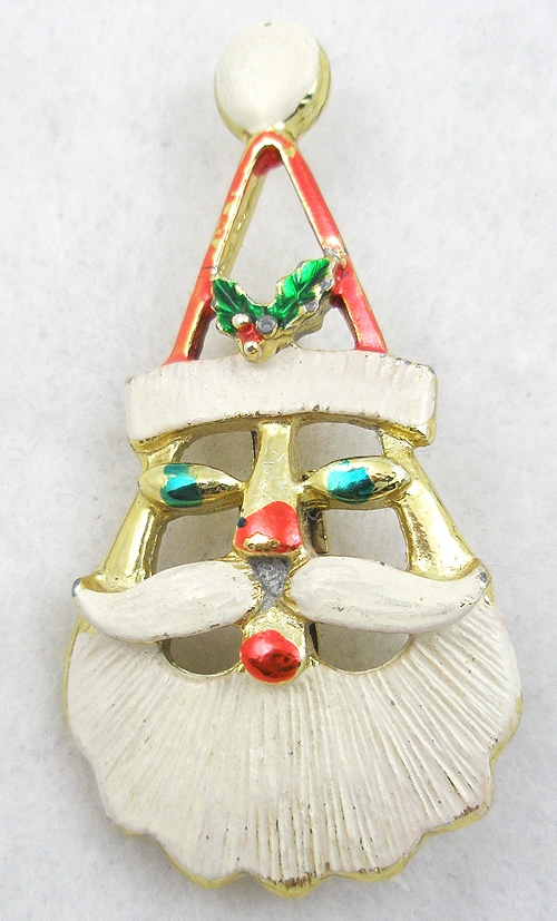 Christmas and Holidays - Enameled Santa Christmas Brooch