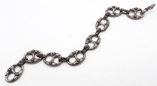 Bracelets - Ialian Silver Etruscan Fob Chain Bracelet