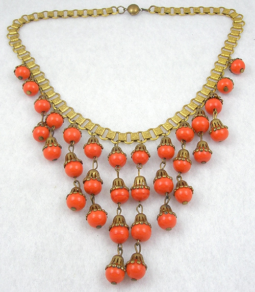 Summer Hot Colors Jewelry - Miriam Haskell Orange Glass Bead Bib Necklace