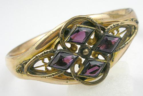 Newly Added Mason, Howard & Co Gold Filled Amethyst Rhinestone Bangle