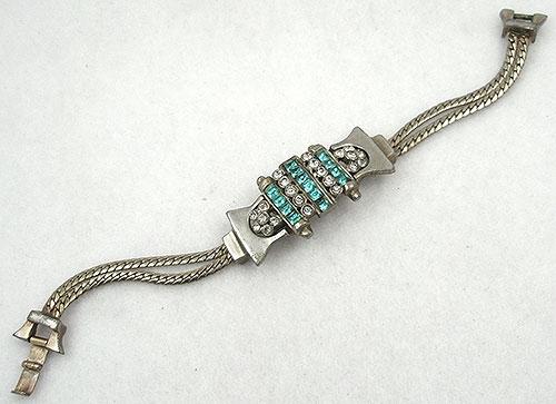 Bracelets - Retro Modern Aqua Rhinestone Bracelet