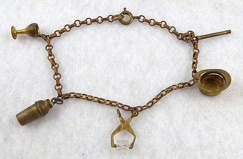 Charm Jewelry - 1930's Brass Charm Bracelet