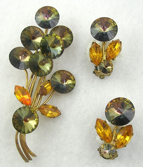 Autumn Fall Colors Jewelry - Austrian Smoked Topaz Rivoli Brooch Set