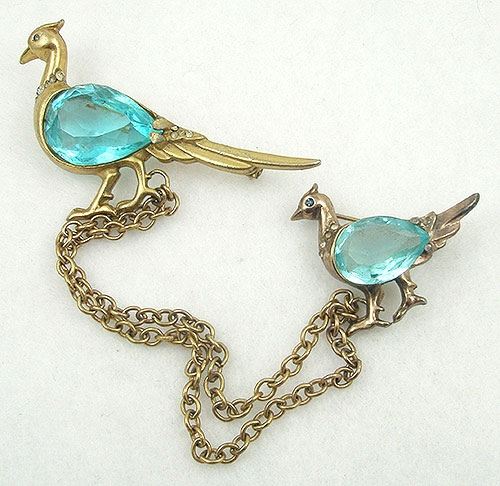 Newly Added Quail Aqua Belly Chatelaine Double Brooch