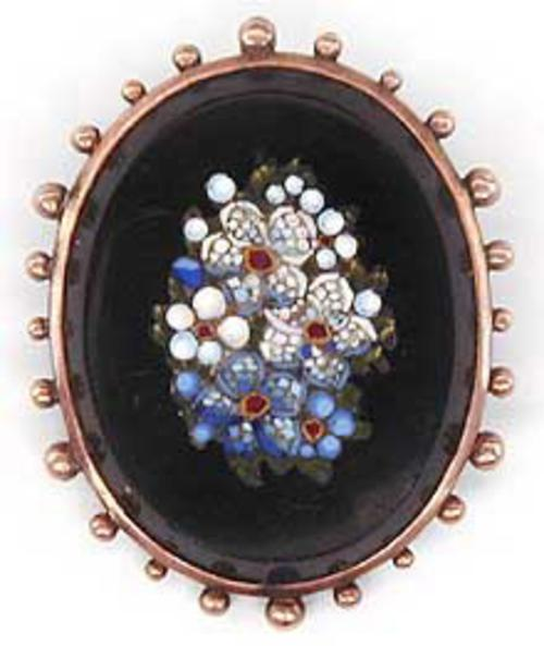 Brooches - Micromosaic Flowers Brooch