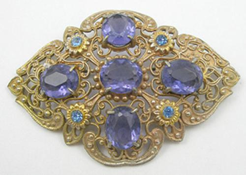 Newly Added Victorian Revival Purple Rhinestone Brooch