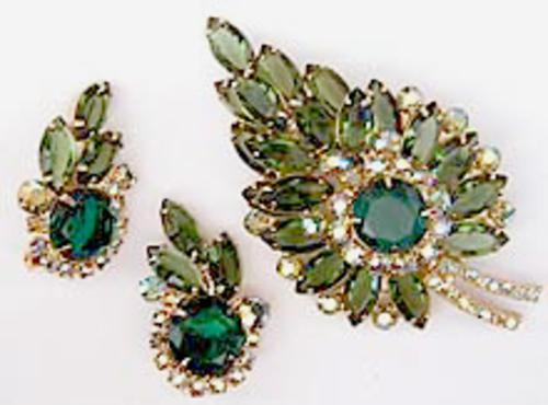 Leaves & Plants - DeLizza & Elster Green Rhinestone Leaf Brooch Set