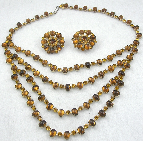 Autumn Fall Colors Jewelry - Topaz Cabochon and Rhinestone Necklace Set