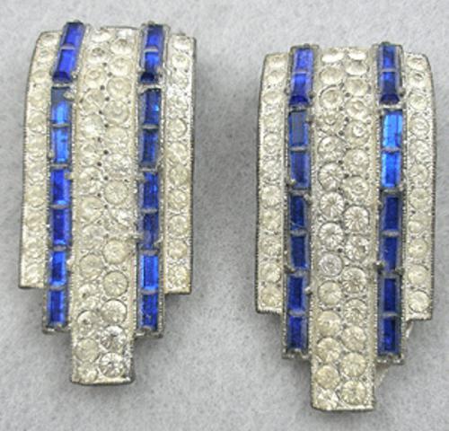 Dress & Fur Clips - Art Deco Rhinestone Dress Clips Pair