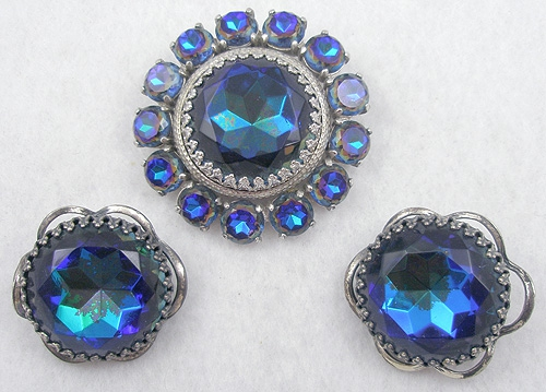 Schiaparelli - Schiaparelli Blue Watermelon Brooch Set