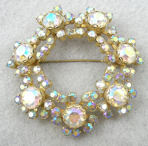 Brooches - Aurora Borealis Rhinestone Wreath Brooch