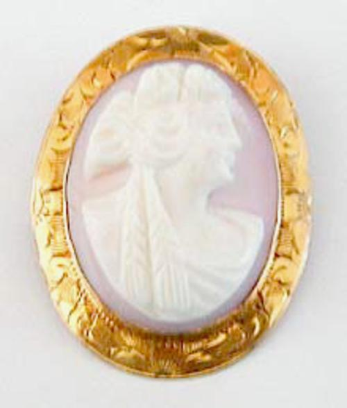 Brooches - Ceres/Dementer Pink Shell 10k Gold Cameo