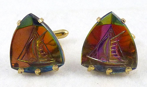 Men's Jewelry - Swank Rainbow Vitrail Glass Sailboat Cufflinks