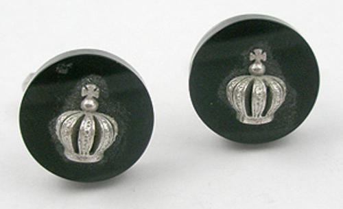 Men's Jewelry - Swank Sterling Crown Cuff Links