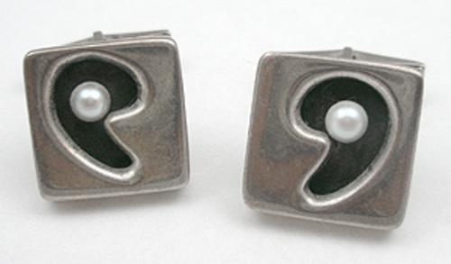 Men's Jewelry - Sterling & Pearl Modernist Cuff Links