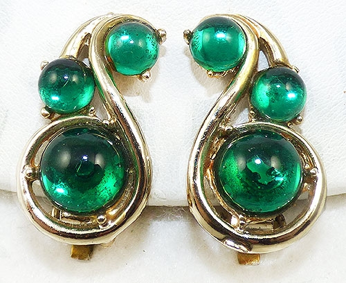 Newly Added Green Cabochon Paisley Earrings