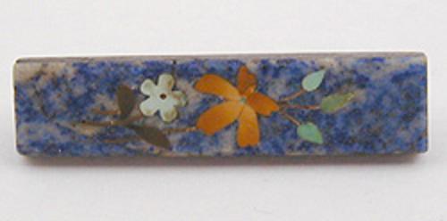 Brooches - Victorian Lapis Lazuli Pietra Dura Brooch