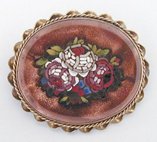 Brooches - Goldstone Mosaic Brooch